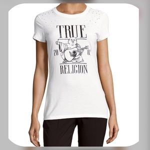True Religion T-Shirt with Bling Shoulders